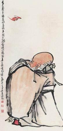 吴昌硕、王震 多寿图立轴