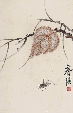 齐白石 贝叶草虫立轴