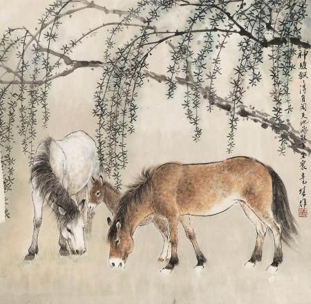 方楚雄(b.1950) 2001年作 神骏飘飘 镜心 设色纸本