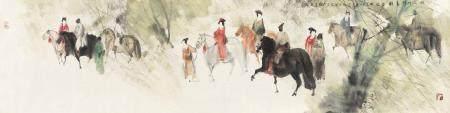彭先诚(b.1941) 2003年作 《丽人行》诗意图 镜心 设色纸本