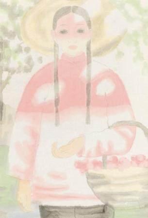 田黎明(b.1955) 村姑 镜框 设色纸本