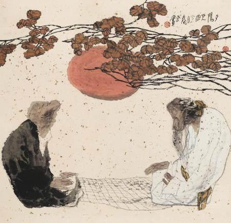 袁武(b.1959) 1993年作 夕阳 镜心 设色纸本