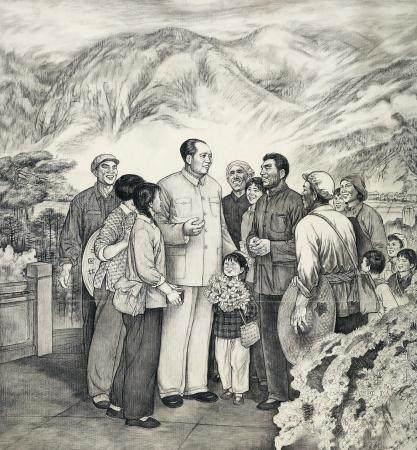 邹良材(b.1944) 1974年作 毛主席和井冈山人民在一起 镜心 水墨纸本