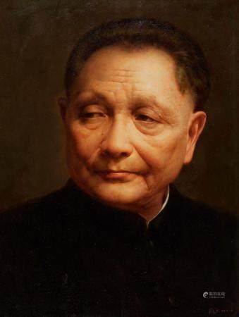 翁惠标(b.1951) 2012年作 睿智果敢的总设计师 镜框 布面油画