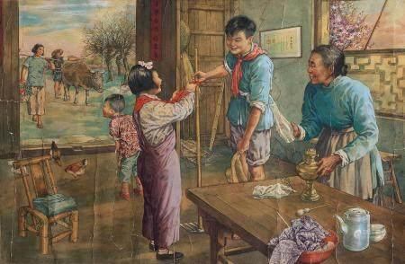 杨俊生(b.1941) 我也戴上了红领巾 镜心 设色纸本