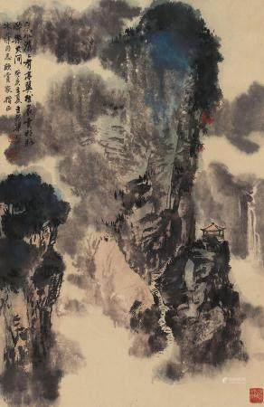 梁树年(1911~2005) 1983年作 泉水潺潺 立轴 设色纸本