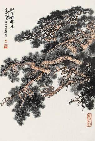 梁树年(1911~2005) 1996年作 树老精神在 镜心 设色纸本