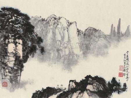梁树年(1911~2005) 1983年作 山色云烟 镜心 设色纸本