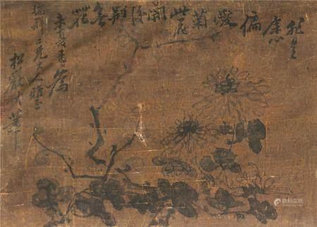 佚名 菊花图 镜片带框 水墨绢本