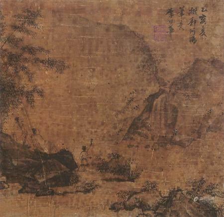李日华 秋山观瀑图 镜片 设色绢本
