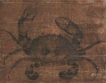 佚名 螃蟹 镜片带框 水墨绢本