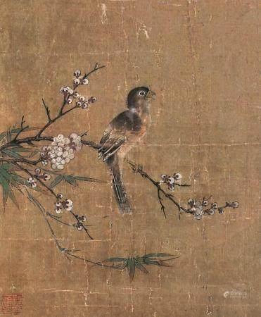 佚名 花鸟 镜片带框 设色绢本