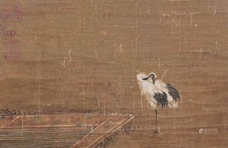 佚名 仙鹤 镜片带框 设色绢本