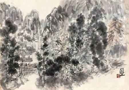 石壶(陈子庄) 山水 镜片 水墨纸本