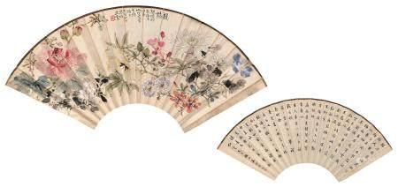 吴清望 孔云 花卉、书法 扇面 设色纸本