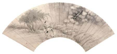 佚名 升龙图 镜片扇面 水墨纸本