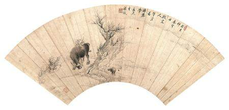 梁鋐 早春牧牛图 扇面 水墨纸本