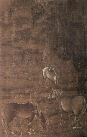 佚名 三骏图 镜片带框 设色绢本