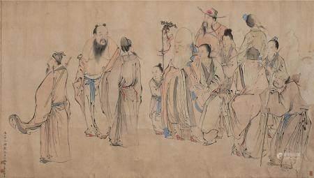 黄羲 群仙祝寿图 镜片 设色纸本