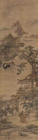 朱贞吉 携琴会友 立轴 设色绫本