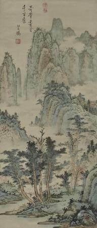 佚名  山水人物 立轴  日本回流