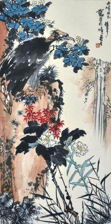 潘天寿款  鹰石图  立轴