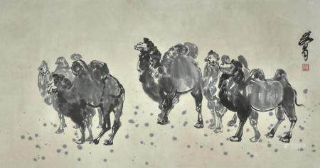 黄胄款  骆驼  镜片