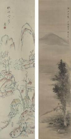 佚名  山水人物  一组2幅  立轴  日本回流