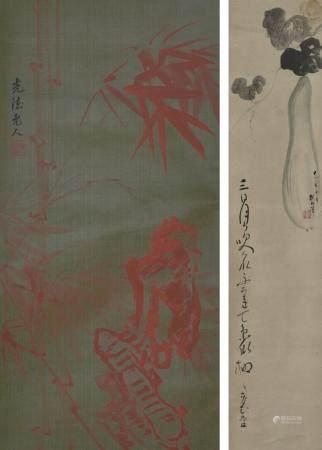 光德老人款  朱竹/ 佚名 瓜瓞延绵  一组2件  立轴  日本回流