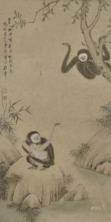 程璋款  猴子  立轴