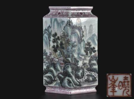 粉彩山水人物菱形瓶