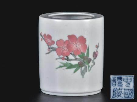 醴陵瓷花卉笔筒