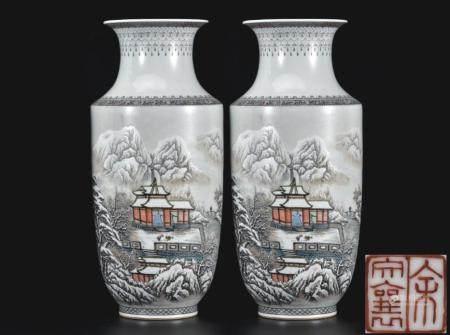雪景人物瓶  一对  余文襄款