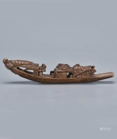 竹雕人物小船