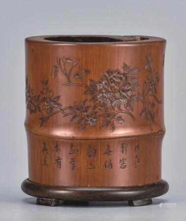 竹镶紫檀书卷形笔筒