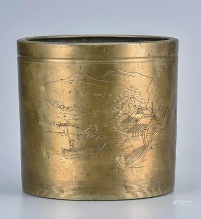 铜刻山水人物笔筒