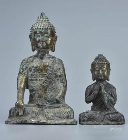 铜释迦牟尼像  一组2件