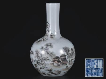 墨彩山水人物天球瓶