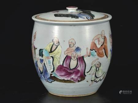 粉彩十八罗汉人物茶叶缸
