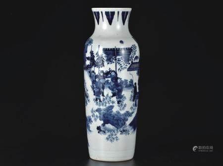 青花人物筒瓶(小伤)