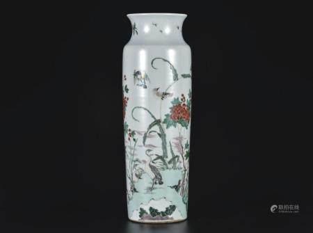 五彩花鸟筒瓶