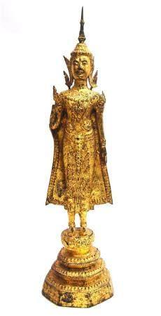 A Tall Elegant Figure of a Buddha, Gilt Bronze Alloy, Standi