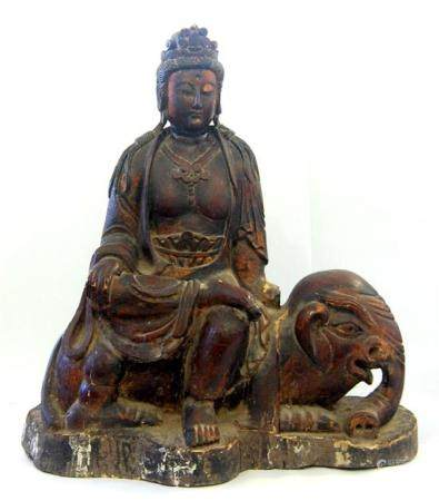 A Large Chinese Carved Wood & Lacquer Bodhisattva on the Bac