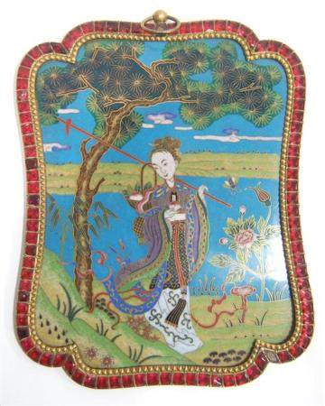 A Chinese Cloisonne Plaque Framed with a Band of Ruby Paste,