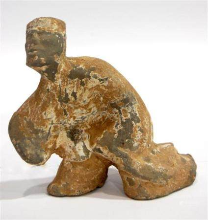 An Earthenware Figure of a Dancer with White Slip & Traces o