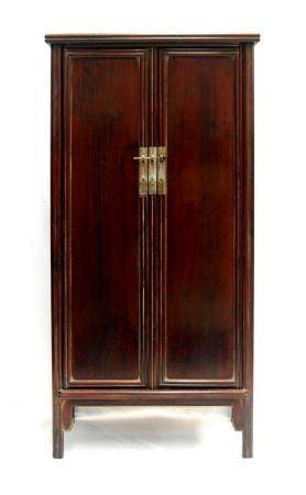 A Chinese Zitan Rectangular Cabinet with Hidden Hinges on th