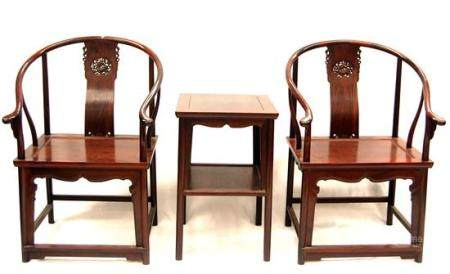 A Pair of Chinese Zitan HorseShoe Armchairs & a Side Table,