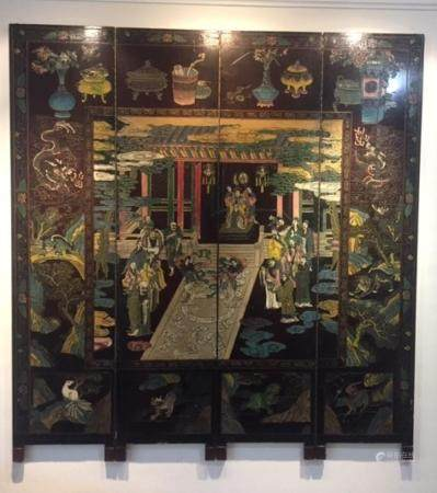 A Chinese Four Panel Lacquer Screen Representing the Univers