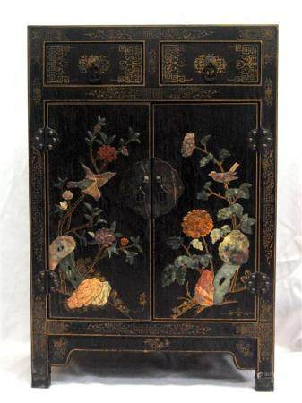 A Chinese Black Lacquer Cabinet Inlaid with Semi Precious St