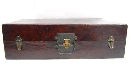 A Chinese Lacquered Leather Case, the Interior Lined with a